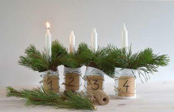 diy-advent-candles-ideas-tins-post-fir-branches-burlap